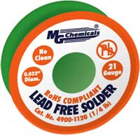 "MG Chemicals Solder Lead Free 0.032"" 21 Gauge 17g"