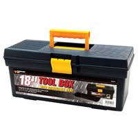 "Performance Tools 18"" Plastic Tool Box - Black"