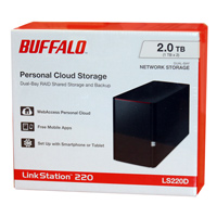 BUFFALO LinkStation 220 2TB (2 x 1TB) Personal Cloud Storage with Hard Drives Included (LS220D0202)