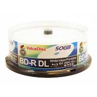 ValueDisc BD+R DL 6x 50 GB/270 Minute Inkjet Printable Disc 25-Pack Spindle