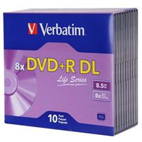 Verbatim Life Series DVD+R DL 8x 8.5 GB/240 Minute Disc 10-Pack Jewel Case
