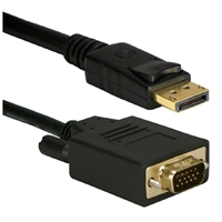 QVS DisplayPort Male to VGA Male Video Cable w/ Latches 15 ft. - Black