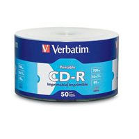 Verbatim CD-R 52x 700 GB/80 Minute Inkjet Printable Disc 50-Pack Shrink Wrap