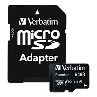 Verbatim 64GB Premium MicroSDXC Memory Card with Adapter, UHS-I V10 U1 Class 10