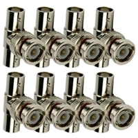Avue BNC T-Male to 2 Female Adapter (8 Pack)