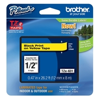 "Brother TZe631 12mm (0.47"") Black on Yellow tape for P-Touch 8m (26.2 ft)"