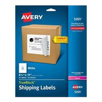 "Avery 5265 White Shipping Labels with TrueBlock Technology for Laser Printers 8-1/2"" x 11"" 25 Pack"