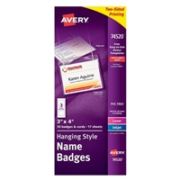 "Avery 74520 White Hanging Name Badges 3"" x 4"" 50 Pack"