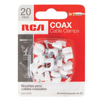 RCA Coax Cable Nail-In Clamps White