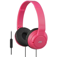 JVC Lightweight On-Ear Headphones w/ Mic - Pink