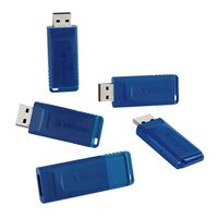 Verbatim 8GB USB 2.0 Flash Drive - Cap-LESS & Universally Compatible - 5 Pack - Blue - 99121