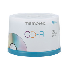 Memorex CD-R 52x 700 MB/80 Minute Disc 50-Pack Spindle