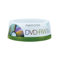 Memorex DVD-RW 4x 4.7GB/120 Minute Disc 25 Pack Spindle