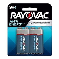 Rayovac High Energy 9V Alkaline Battery - 4 pack
