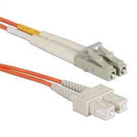 QVS LC to SC Multimode Fiber Duplex Patch Cable 23 ft. - Orange