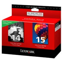 Lexmark 14/15 Black/Color Return Program Ink Cartridge 2-Pack