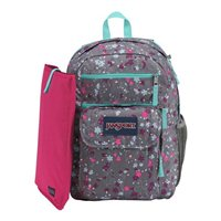 "Jansport Digital Student Laptop Backpack Fits Screens up to 15"" - Gray Floral"