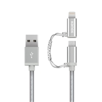 Kanex Micro-USB (Type-B) Male to Lightning Male Cable 4 ft. - Silver