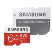 Samsung 64GB EVO+ microSDXC Class 10/UHS-3 Flash Memory Card with Adapter