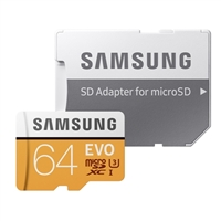 Samsung 64GB EVO microSDXC Class 10/UHS-1 Flash Memory Card with Adapter