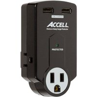 Accell Home or Away Power Station - 3 Outlet Travel Surge Protector - Black