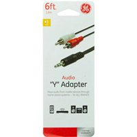 GE 3.5mm Male to Split RCA Female Audio Y Adapter 6Ft - Black