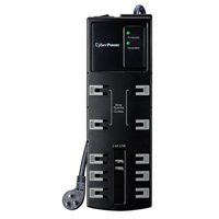 CyberPower Systems 10 Outlet 3,600 Joules w/ 2 USB (2.4A) Charging Ports 6 ft. Cord Surge Protector - Black