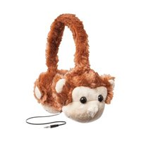 Emerge ReTrak Retractable Animalz Tangle-Free, Volume Limiting (85 dB) Over Ear Headphones for Kids, Brown Monkey (ETAUDFMNKY)