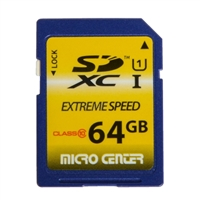 Micro Center 64GB SDXC Class 10/UHS-1 Flash Memory Card