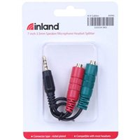 Inland 3.5mm Male to 3.5mm Female Speaker/ Microphone Headset Splitter - Black
