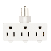 Inland 3-Outlet Swivel Adapter - White