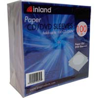 Inland Paper CD/DVD Sleeves 100 Pack - White