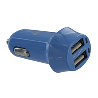 Inland Car Charger w/ 2 x USB Type-A Port - Blue