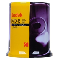 Kodak DVD-R 16x 4.7GB/120 Minute Disc 100-Pack Cake Box