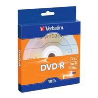 Verbatim DVD-R 16x 4.7 GB/120 Minute Disc 10-Pack Cake Box