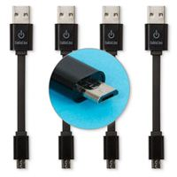 Limitless Innovations Micro-USB (Type-B) Male to USB 2.0 (Type-A) Male Sync/Charge Cable (4-pack) 3.5 in. - Black