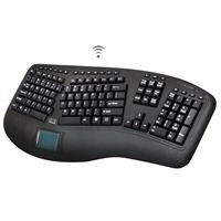 Adesso Wireless Ergonomic Touchpad Keyboard - Black
