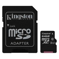 Kingston 64GB Canvas Select microSDXC Class 10/UHS-1/ V10 Flash Memory Card with SD Adapter