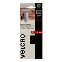 "Velcro Extreme Outdoor 5 Strips 4"" x 1"" - Black"
