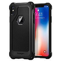 Spigen Rugged Armor Extra iPhone X Case with Resilient Shock Absorption and Carbon Fiber Design for iPhone X (2017) - Black