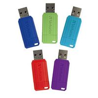 Verbatim 32GB PinStripe USB 2.0 Flash Drive 5 Pack - Assorted Colors