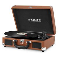 Victrola Bluetooth Suitcase Record Player with 3-speed Turntable - Brown