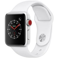 Apple Watch Series 3 GPS/ Cellular 38mm Silver Aluminum Smartwatch - White Sport Band