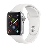 Apple Watch Series 4 GPS 40mm Silver Aluminum Smartwatch - White Sport Band