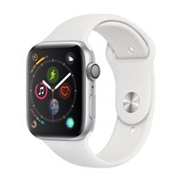 Apple Watch Series 4 GPS/Cellular 44mm Silver Stainless Steel Smartwatch - White Sport Band