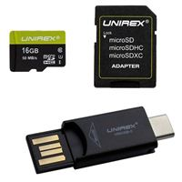 Unirex 16GB microSDXC Class 10 Flash Memory Card with Adapter and Reader