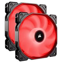 Corsair AF140 Red LED Hydraulic Bearing 140mm Case Fan - Twin Pack