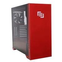 MAINGEAR Vybe RGB Tempered Glass ATX Mid-Tower Computer Case - Red