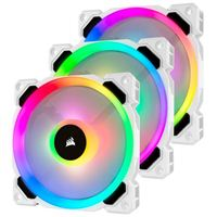 Corsair LL120 White RGB Hydraulic Bearing 120mm Case Fan with Lighting Node Pro - Triple Pack