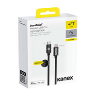 Kanex USB 2.0 (Type-C) Male to Lightning Male Braided Charge/ Sync Cable 4 ft. - Matte Black